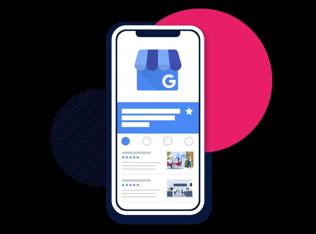 Das Bild zeigt auf einem Smartphone einen Google My Business - Account.